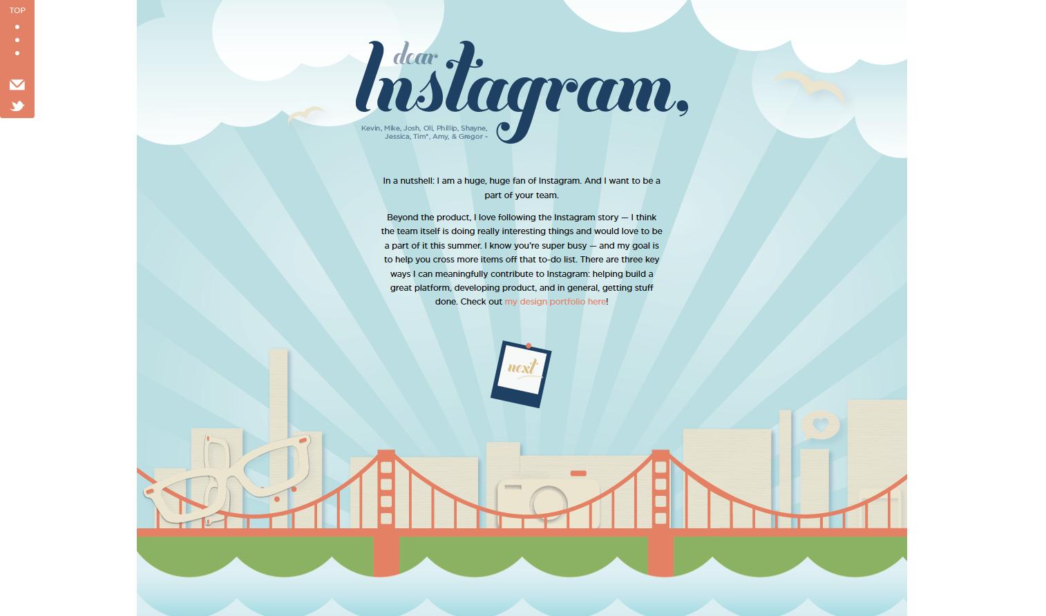 dearinstagram online cover letter