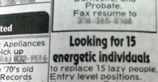 Newspaper job ad