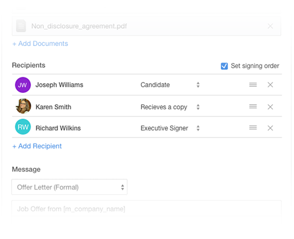 Multiple signers in SmartRecruiters and Docusign