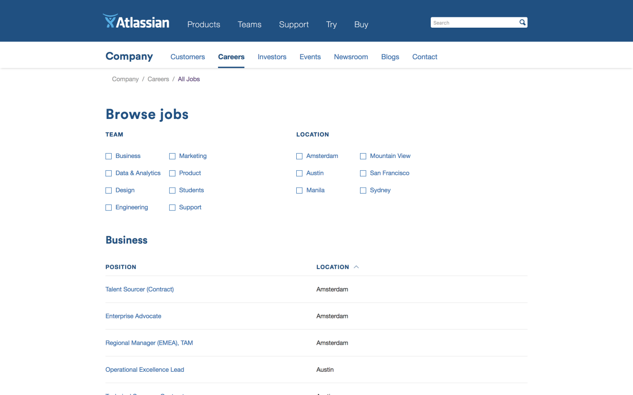 the best career sites atlassian career site