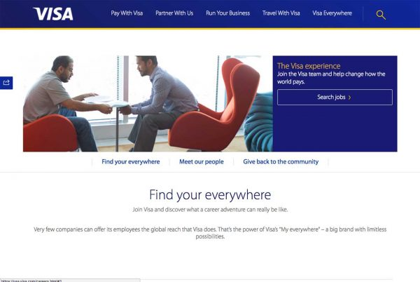 Visa career site