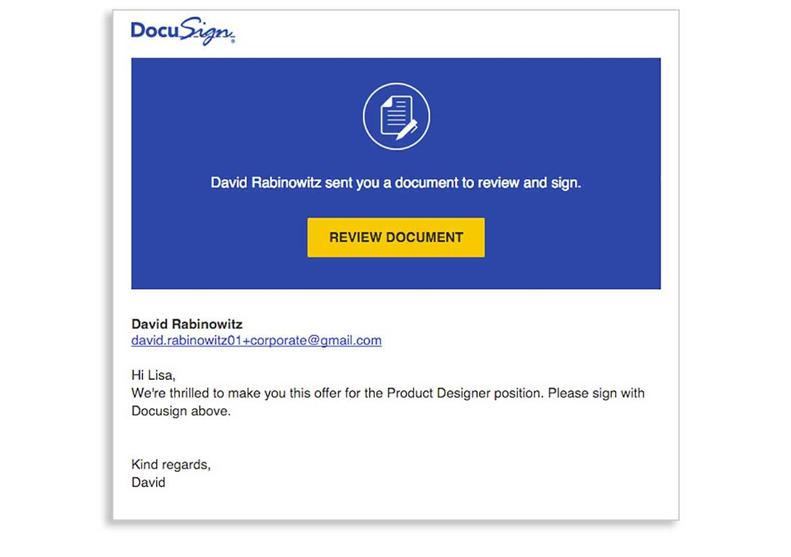 Job Offer DocuSign integration